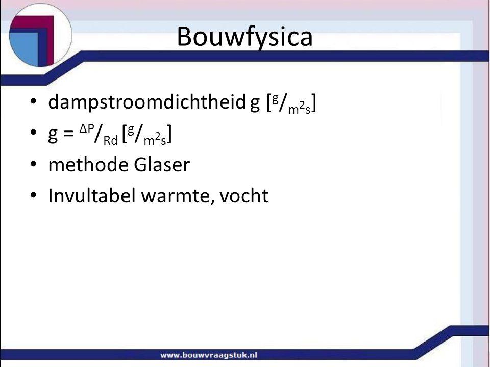 Bouwfysica dampstroomdichtheid g [g/m2s] g = ΔP/Rd [g/m2s]